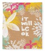 It Will Be Ok- Floral Design Fleece Blanket