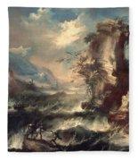 Italian Seascape With Rocks And Figures Fleece Blanket
