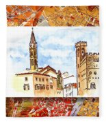 Italy Sketches Florence Towers Fleece Blanket