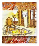 Italy Sketches Hotel Europa Regina Fleece Blanket