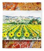 Italy Sketches Sunflowers Of Tuscany Fleece Blanket