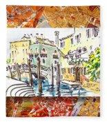 Italy Sketches Venice Canale Fleece Blanket