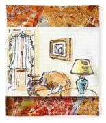 Italy Sketches Venice Hotel Fleece Blanket