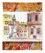 Italy Sketches Venice Piazza Fleece Blanket