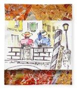 Italy Sketches Venice Two Gondoliers Fleece Blanket