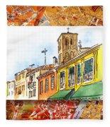 Italy Sketches Venice Via Nuova Fleece Blanket