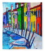 Italy - Venice - Colorful Burano - The Right Side  Fleece Blanket