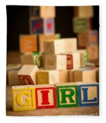 Its A Girl - Alphabet Blocks Fleece Blanket