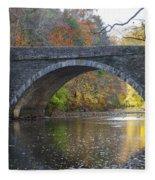 It's Autumn At The Valley Green Bridge Fleece Blanket
