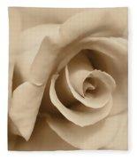 Ivory Brown Rose Flower Fleece Blanket