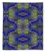 Ivy Abstract 1 Green Blue Fleece Blanket