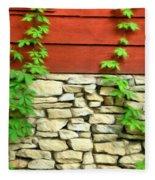 Ivy On Stone And Wood Fleece Blanket