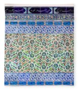 Iznik Ceramics With Floral Design Fleece Blanket