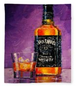 Still Life With Bottle And Glass Fleece Blanket