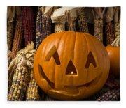 Jack-o-lantern And Indian Corn  Fleece Blanket
