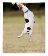 Jack Russell Jumping For Ball Fleece Blanket