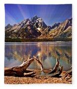 Jackson Lake Mt. Moran Fleece Blanket