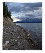 Jackson Lake Shore With Grand Tetons Fleece Blanket
