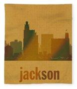 Jackson Mississippi City Skyline Watercolor On Parchment Fleece Blanket