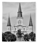 Jackson Square In Black And White Fleece Blanket