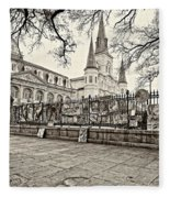 Jackson Square Winter Sepia Fleece Blanket