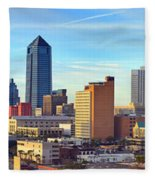 Jacksonville Skyline Morning Day Color Panorama Florida Fleece Blanket