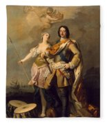 Peter I With Minerva With The Allegorical Figure Of Glory Fleece Blanket