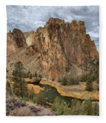 Jagged Peaks And River Reflections Fleece Blanket