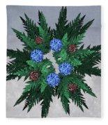 Jammer Blue Red Snow Wreath Fleece Blanket