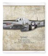 Janie P-51d Mustang - Map Background Fleece Blanket