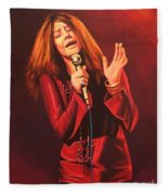 Janis Joplin Painting Fleece Blanket