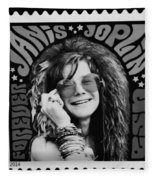 Janis Stamp In A Black And White Vibe Fleece Blanket
