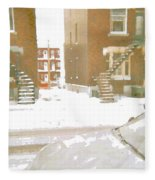 January Winter Street Winding Snow Covered Staircase Montreal Art Verdun Duplex Painting Cspandau Fleece Blanket
