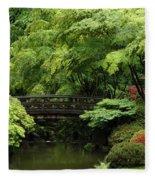 Japanes Garden Reverie Portland Oregon Fleece Blanket