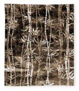 Japanese Bamboo Sepia Grunge Fleece Blanket