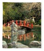 Japanese Bridge Over Water Fleece Blanket