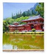 Japanese Byodoin Temple Fleece Blanket