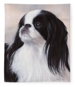 Japanese Chin Painting Fleece Blanket