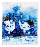 Japanese Cranes Fleece Blanket