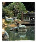 Japanese Garden At Sundown Fleece Blanket