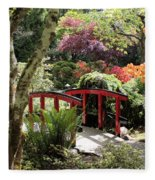 Japanese Garden Bridge With Rhododendrons Fleece Blanket