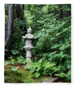 Japanese Garden Lantern Fleece Blanket