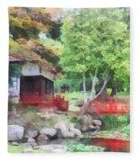 Japanese Garden With Red Bridge Fleece Blanket