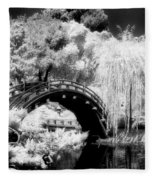Japanese Gardens And Bridge Fleece Blanket