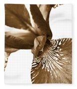 Japanese Iris Flower Sepia Brown 2 Fleece Blanket