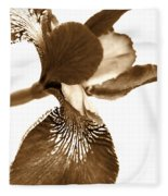 Japanese Iris Flower Sepia Brown Fleece Blanket