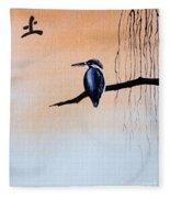 Japanese Kawasemi Kingfisher Feng Shui Earth Fleece Blanket