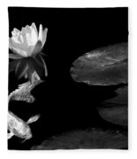 Japanese Koi Fish And Water Lily Flower Black And White Fleece Blanket
