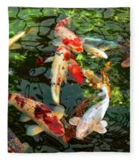 Japanese Koi Fish Pond Fleece Blanket