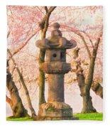 Japanese Stone Lantern Fleece Blanket